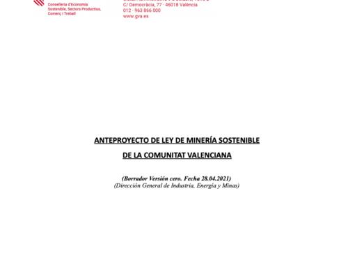 Información Pública del borrador del anteproyecto de ley de minería sostenible de la Comunidad Valenciana