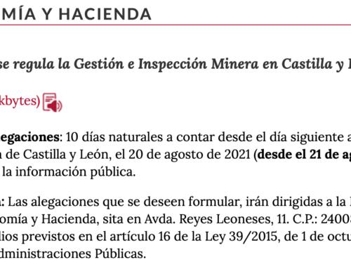 Finalizado el plazo de alegaciones al Proyecto de Decreto que regula la Gestión e Inspección Minera en Castilla y León